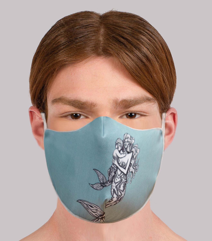 REAMEREI: mascherina in seta con stampa sirena 4