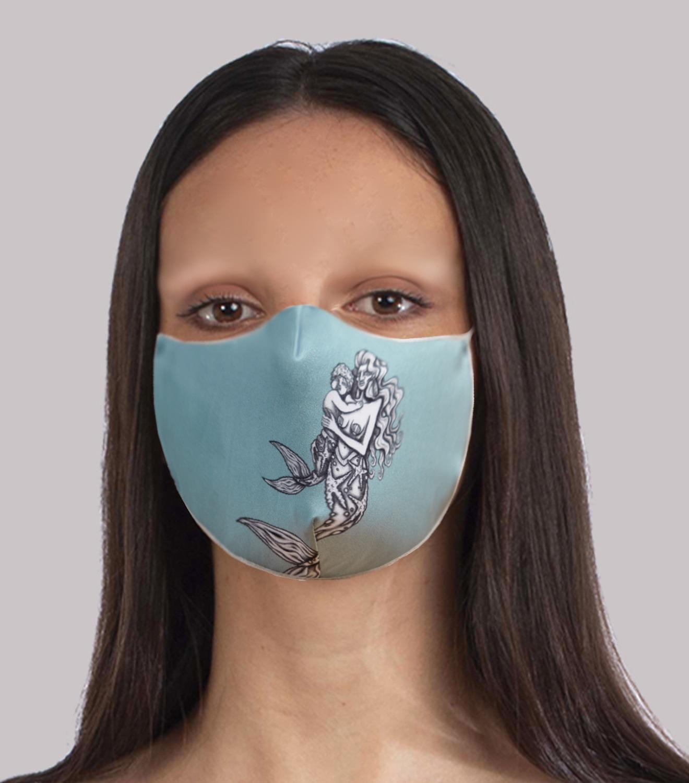 REAMEREI: mascherina in seta con stampa sirena 2