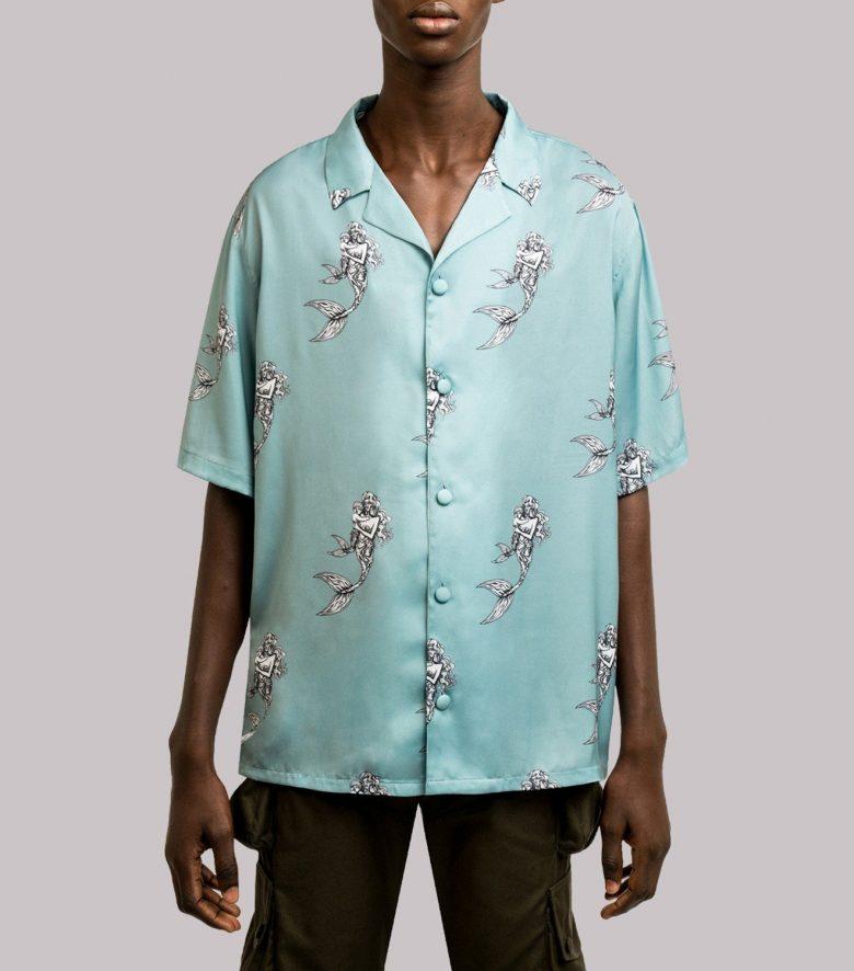 REAMEREI: camicia in seta con stampa sirena 13