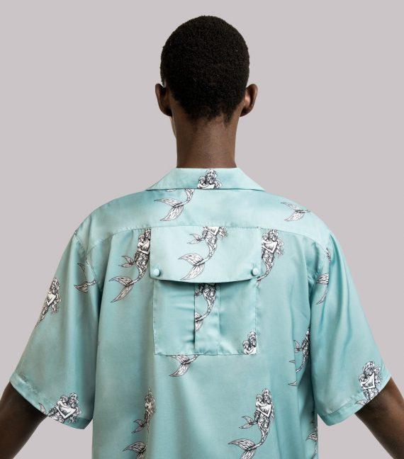 REAMEREI: camicia in seta con stampa sirena 9