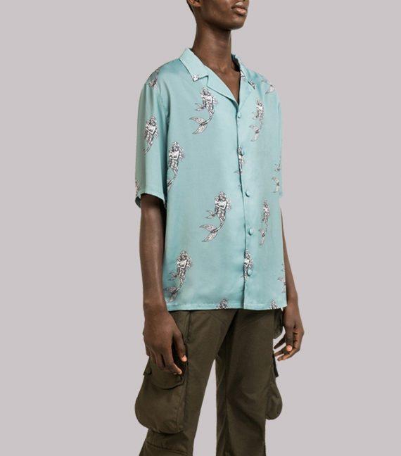 REAMEREI: camicia in seta con stampa sirena 11