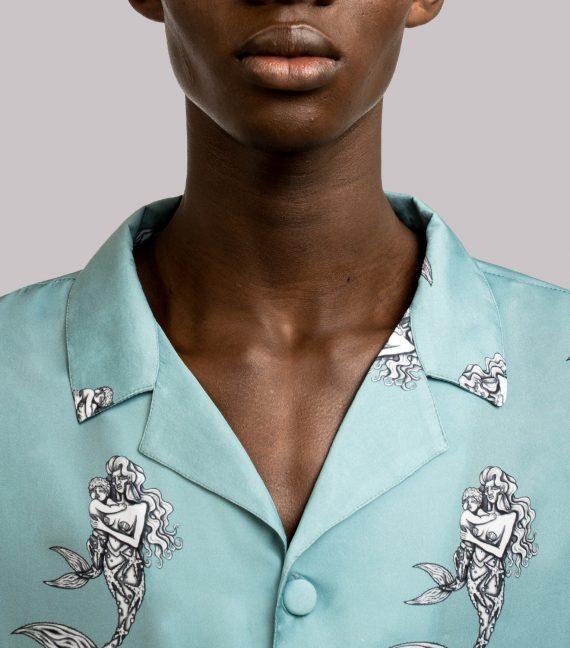 REAMEREI: camicia in seta con stampa sirena 5