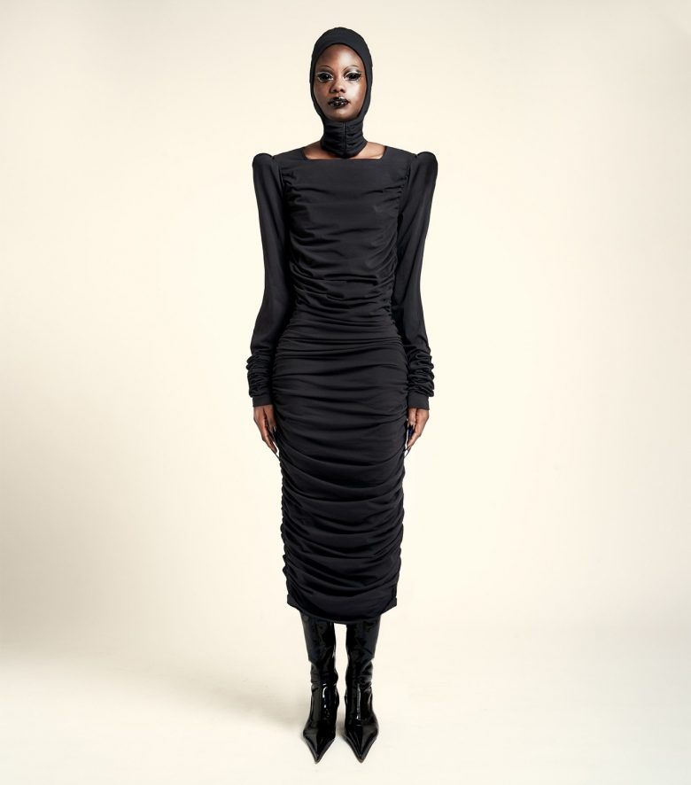 REAMEREI: abito in cotone bio drappeggiato 'Bio-Nyx'