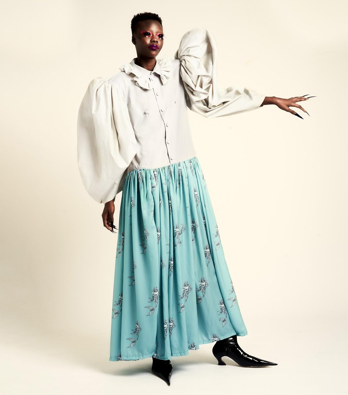 REAMEREI: abito in popeline e stampa 'Posidonia'