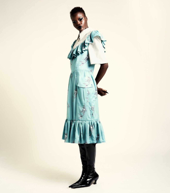 REAMEREI: abito tablier in popeline e stampa 'Polidora'