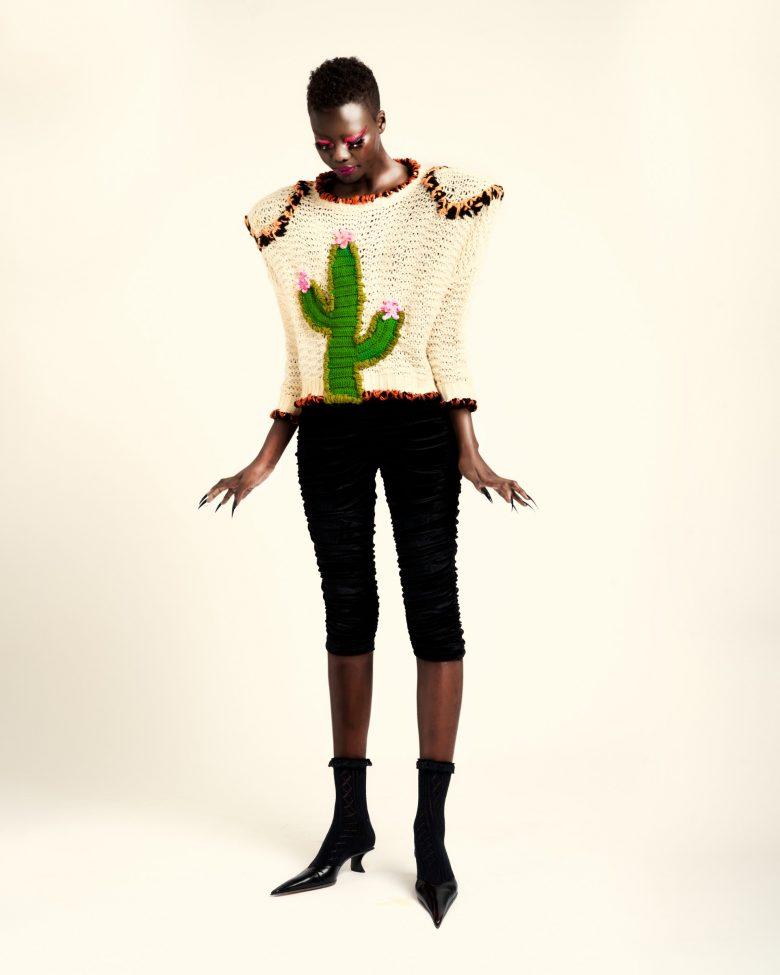 REAMEREI: maglione rigenerato con ricami 'Solsitia' 1