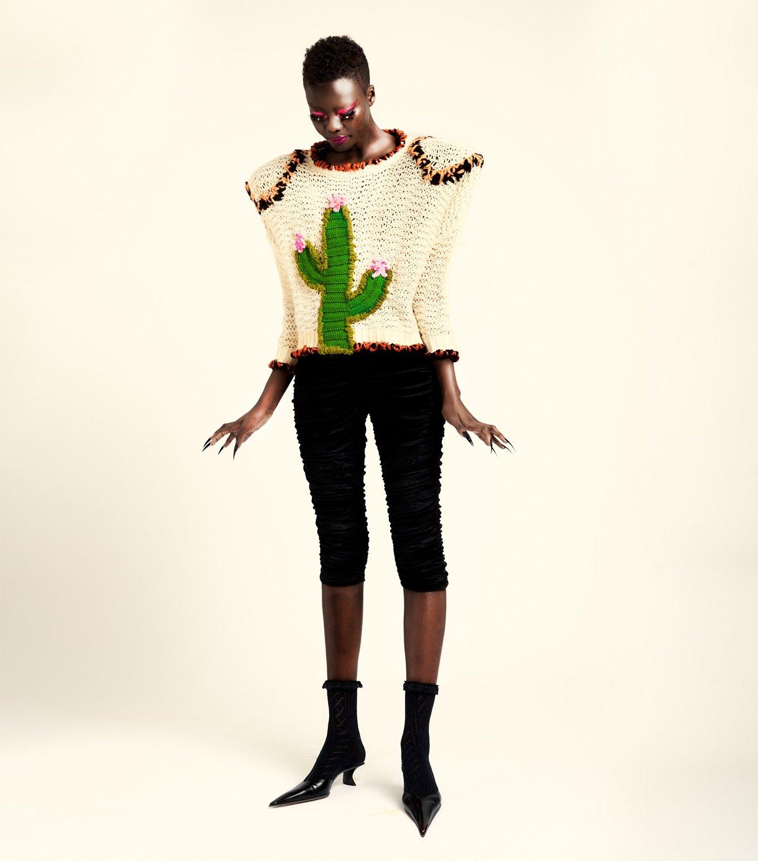 REAMEREI: maglione rigenerato con ricami 'Solsitia'