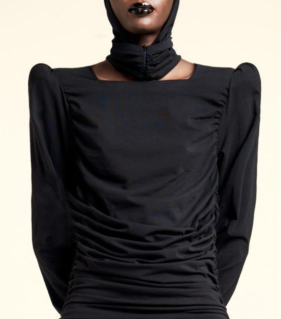 REAMEREI: abito in cotone bio drappeggiato 'Bio-Nyx' 2